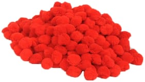 VFS VARDHMAN Pom Pom Wool Balls Red Pack of 230;Used for Art & Craft;Dresses;Room Decoration;Jewellery Making etc