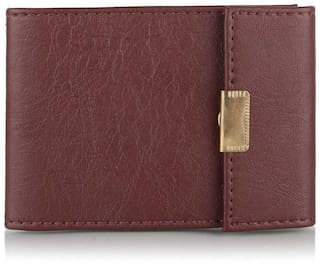 Vinisha Enterprise PVC Brown ATM Cards / Credit Cards / Debit Cards / Visiting Cards / Business Cards Holder with Magnet Lock