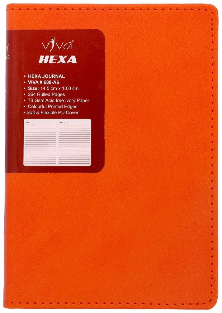 Viva Hexa - A6 Journal Diary Notebook 264 Pages 70 GSM Soft Flexible Cover  Orange (Pocket Size)
