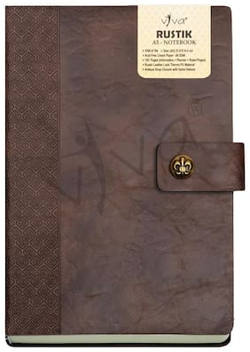Viva Rustik A5 Notebook 80 GSM with 192 Pages Including 12 Planner Pages and Antique Button Closure (Brown)