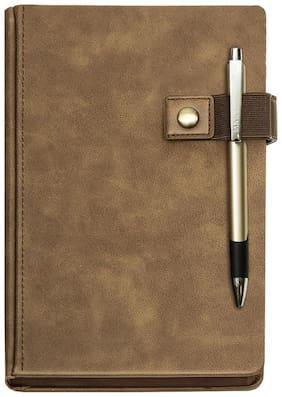 Viva Signature A5 Notebook (Camel) - 192 Pages Including 12 Planner Pages and Elastic Pen Holder With Magnetic Button Closure