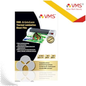 VMS Aristolam Thermal Lamination Pouch (Sheets) 65x95mm 250 Micron - 100 Laminating Sheets for ID Card Size (Pack of 1)