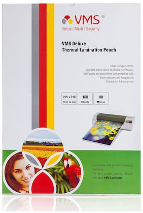 VMS Deluxe A4 Thermal Lamination Pouch 225x310mm 80 Micron    (100 Sheets) for Certificate and Documents