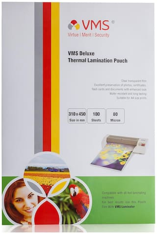 VMS Deluxe A3 Laminating Pouch Film 80 Microns (A3 Lamination Pouch) (310x450mm) set of 1 (100 pouch) for Documents