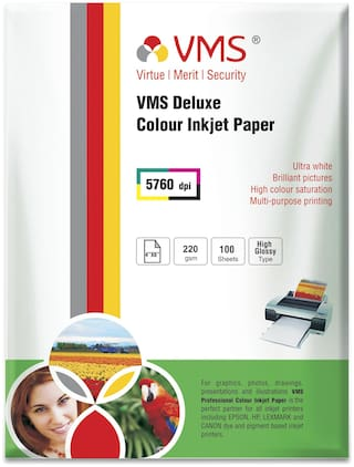 VMS Deluxe 220 GSM 4R (4 x 6) Photo Paper High Glossy (2 x 100 Sheets)