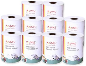 VMS Deluxe Paper Rolls Thermal Paper Rolls 55mm (Width) x 45mm (Depth) X 25 Mtr (Length) Rolls (Set of 10)