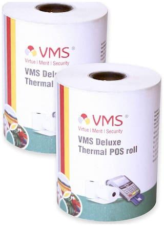 VMS Deluxe Paper Rolls Thermal Paper Rolls 55mm (Width) x 45mm (Depth) X 25 Mtr (Length) Rolls (Set of 2)