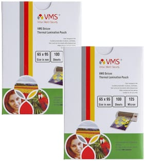 VMS Deluxe Thermal Lamination Pouch (Sheets) 65x95mm 125 Micron - Pack of 2 (200 Sheets)  for ID Card