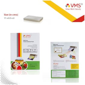 VMS Deluxe Thermal Lamination Pouch 85x110mm 125 Micron - Pack of 2 (200 Sheets) for Id Card