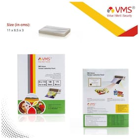 VMS Deluxe Thermal Lamination Pouch (85X110mm)  175 Mic Set Of 2 (200 Sheet) Specially for ID card
