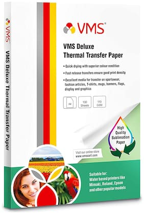 VMS Deluxe Thermal Transfer Paper A4 110 GSM (Pack of 1;100 Sheets)
