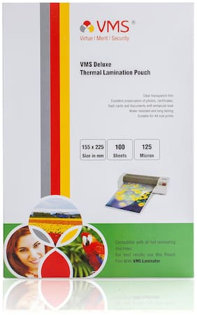 VMS Deluxe Thermal Lamination Pouch 155 x225 mm 125 Micron  (100 Sheets) for Certificate and Documents
