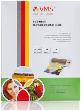 VMS Deluxe Thermal Lamination Pouch 180x230mm 125 Micron    (100 Sheets)