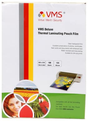 VMS Deluxe A4 Thermal Lamination Pouch 225 x 310 mm 125 Micron (100 Sheets) for Documents & Certificates