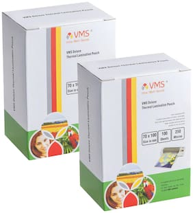 VMS Deluxe Laminating Pouch Film 250 Microns (Lamination Pouch) (70 x 100mm) set of 2 (200 pouch) Specially for ID Card
