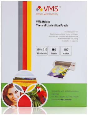 VMS Deluxe Thermal Laminating Pouch A4 (225 x 310mm) Film 100 Microns (100 Lamination Pouch)