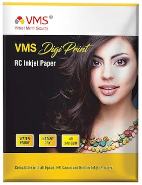 VMS Digi Print 240 GSM 4R (4x6) Photo Paper (Luster) Matte   Pack of 6 (600 Sheets)