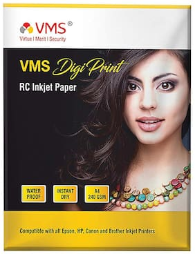VMS Digi Print 240 GSM A4 (210x297mm) Photo Paper (Luster) Matte   Pack of 1 (20 Sheets)