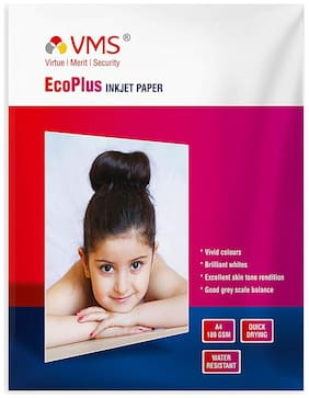 VMS Eco Plus 180 GSM Photo Paper Water Resistant Quick Drying High Glossy Inkjet Photo Paper A4 (210 x 297mm) 180 GSM A4 Photo Paper (50X4 = 200 Sheets)