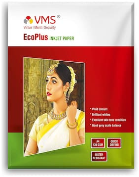 VMS Eco Plus 130 GSM A4 (210x297mm) Photo Paper High Glossy   Pack of 2 (100 Sheets)