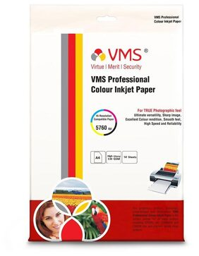 VMS Professional Colour Paper High Glossy Inkjet Photo  Printing  Paper A4 (210 x 297 mm ) (210 x 297mm) 130 GSM (50 Sheets)