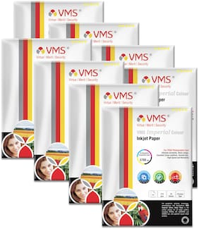 VMS Imperial 270 GSM A4 (210x297mm)Photo Paper High Glossy   Pack of 8 (160 Sheets)