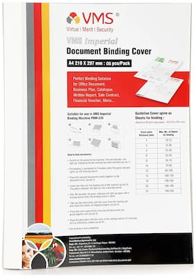 VMS Imperial A4 Thermal Binding Document Cover White Paper and Transparent Plastic Cover with PVC Glue for Thermal Binding Machine (4mm Pack of 5 pcs)