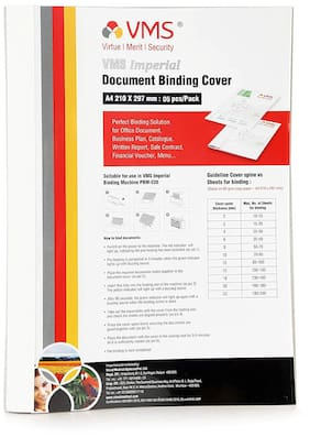 VMS Imperial A4 Thermal Binding Document Cover White Paper and Transparent Plastic Cover with PVC Glue for Thermal Binding Machine (8mm Pack of 5 Pcs)