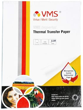 VMS Imperial Thermal Transfer Paper A4 120 GSM for T-Shirt;Mugs & Banners - Pack of 2 (200 Sheets)