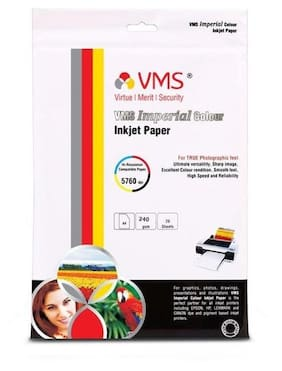 VMS Imperial Colour High Glossy Inkjet Photo Paper A4 (210 x 297 mm )  240 GSM (20 Sheets) Photo Printing Paper