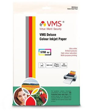 VMS Deluxe Colour Glossy Inkjet Photo Printing Paper A4 (210 x 297 mm )   180 GSM set of 3 (20 x 3 = 60 Sheets)