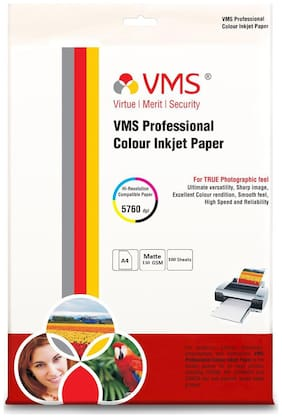 VMS Professional Colour Inkjet Paper Matte Inkjet Photo Paper A4 (210 x 297 mm )   130 GSM (100 Sheets)