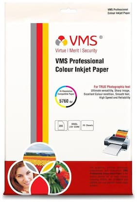 VMS Professional Colour Inkjet Double side High Glossy Inkjet Photo Printing Paper A4 (210 x 297 mm )   220 GSM Set of 2 (40 Sheets)