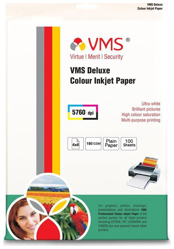 VMS Deluxe Colour Inkjet Paper High Glossy Inkjet Photo Printing Paper 4R 102 x 152mm  180 GSM  100 Sheets