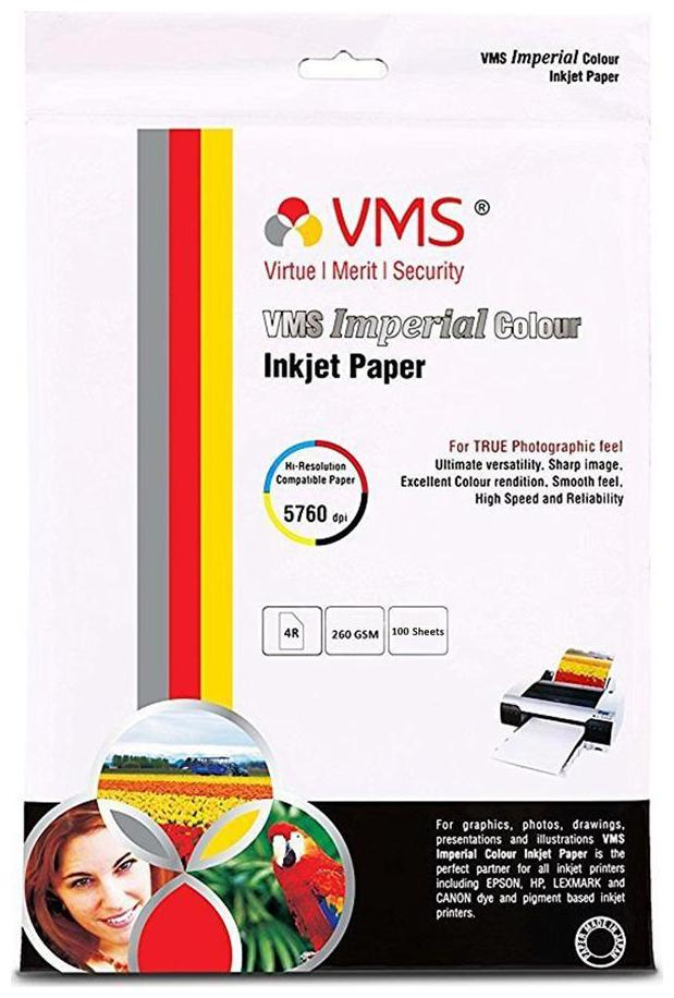 VMS Imperial Colour HighGlossy Inkjet Photo Printing Paper 4R  10.16 cm  4 Inch  x 15.24 cm  6 Inch   260 GSM Set of 2  200 Sheets