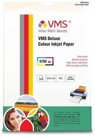 VMS Deluxe 270 GSM 4R (4x6) Photo Paper High Glossy   Pack of 1 (400 Sheets)