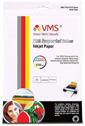 VMS Imperial 260 GSM 4R (4x6) Photo Paper High Glossy   Pack of 2 (200 Sheets)