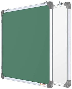 VMS OfficeBuddy Dual-Sided Non-Magnetic White Board & Chalk Board with lightweight Aluminium Frame for Kids, Home & School - 2 x 3 Feet