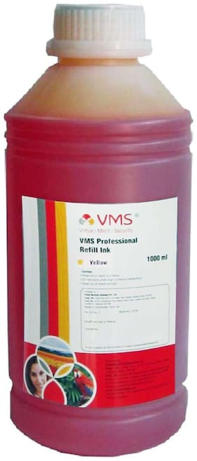 VMS Professional Refill Ink 1 liter(ltr) CIFSR color Yellow Epson Refill Ink Compatible for Epson