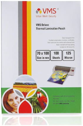 VMS Deluxe Thermal Lamination Pouch 70 x 100 mm 125 Micron (2 x 100 Sheets) for ID Card
