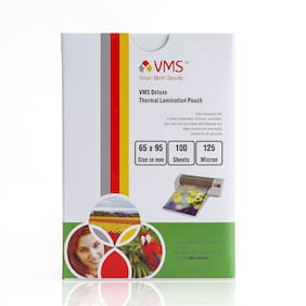 VMS Deluxe Thermal Laminating Pouch Film 125 Microns (Lamination Pouch) (65 x 95 mm) set of 2 (200 pouch) Specially for ID card