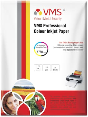 VMS Professional 210 GSM A4 (210x297mm) Photo Paper High Glossy-20 Sheets