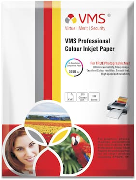 VMS Professional 210 GSM 4R (4 x 6) Photo Paper High Glossy (100 Sheets)