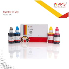 VMS Professional 4 colour 100ml x 4 Bottle (Cyan, Magenta, Yellow, Black) Refill ink  for Refilling of  HP