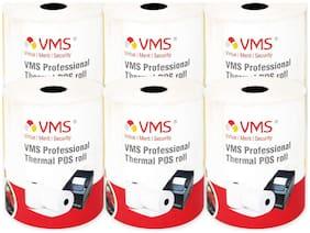 VMS Professional Machine Roll Thermal Paper Rolls 78mm (Width) x 62mm (Depth) X 50 Mtr (Length) POS Rolls (Set of 6)