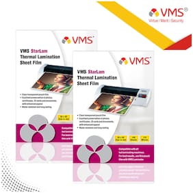 VMS Starlam Thermal Lamination Pouch 65x95mm 125 Micron - Pack of 2 (200 Sheets) for Id Card