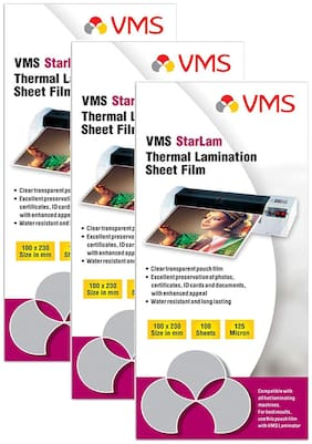 VMS Starlam Thermal Lamination Pouch 100x230mm 125 Micron - Pack of 3 (300 Sheets) for Aadhar Card
