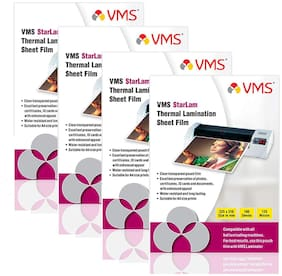 VMS Starlam Thermal A4 Lamination Pouch 225x310mm 125 Micron - Pack of 4 (400 Sheets) for Certificate and Documents