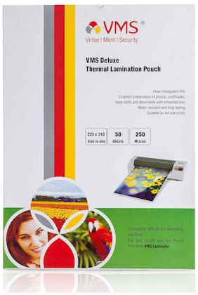 VMS Deluxe A4 Thermal Lamination Pouch 225x310mm 250 Micron -(50 Sheets) for Documents & Certificates