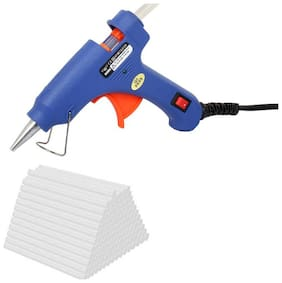 W WADRO 20W 20 WATT 7MM HOT MELT Glue Gun with ON OFF Switch and LED Indicator (Free 3 Transaprent Glue Sticks)